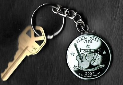 State of TENNESSEE Quarter Keychain Key Chain Image is 60% larger than quarter