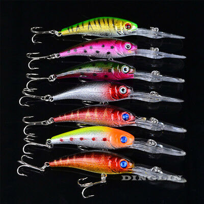 7PCS Minnow Lot Fishing Lures Bass Crank Bait Tackle Fish Hooks 10.1cm/7.6g AU