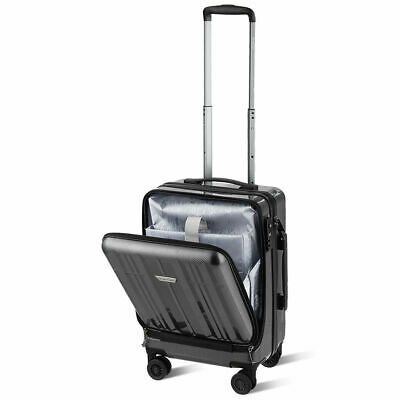 """Carry On Luggage 20"""" Front Pocket Business Trolley Spinner w/ Double TSA Locks"""