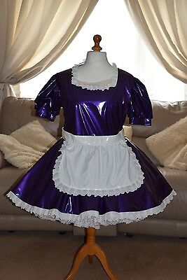 Gorgeous Purple PVC Adult Sissy Maids dress with White apron size xxl