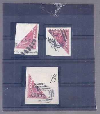 British Colonies Honduras 3 Bisected Stamps On Cutouts