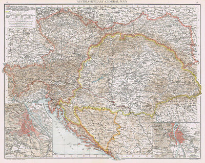 AUSTRIA-HUNGARY Antique Map 1893 by Cassell