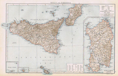 SICILY & SARDINIA Antique Map 1893 by Cassell