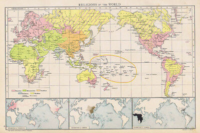 RELIGIONS OF THE WORLD Antique Map 1893 by Cassell