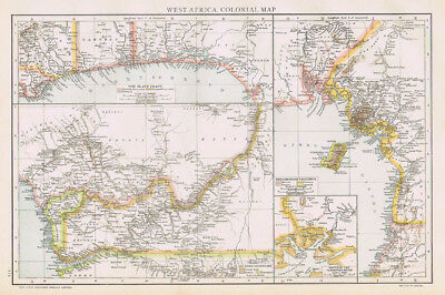 WEST AFRICA Colonial Map Antique Map 1893 by Cassell