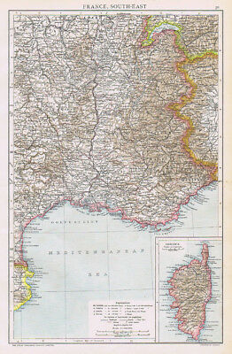 FRANCE South East  and inset of Corsica - Antique Map 1893 by Cassell