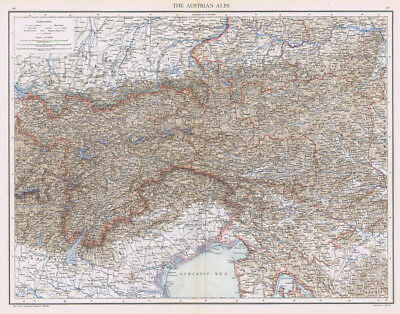 THE AUSTRIAN ALPS Antique Map 1893 by Cassell