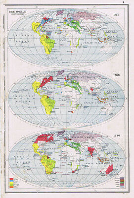 Antique Map 1920 - The World in 1715, 1763 and 1830 - Harmsworth Atlas