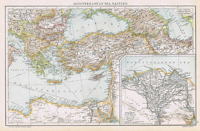 MEDITERRANEAN SEA Eastern Part - Antique Map 1893 by Cassell