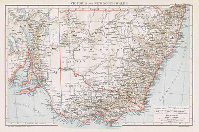 AUSTRALIA Victoria & New South Wales Antique Map 1893 by Cassell