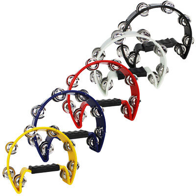 A-Star Half Moon Tambourine - Black, White, Yellow, Blue or Red