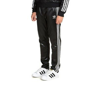 ADIDAS ORIGINALS MEN'S Chile Shiny Slim Fit Track Pants Wet Look Glanz Black