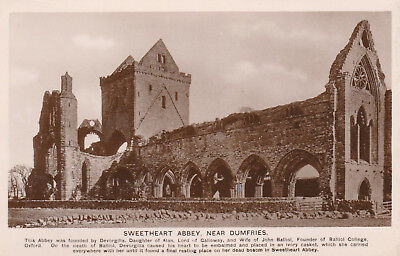 Vintage Black & White Postcard Of  Sweetheart Abbey, Nr Dumfries - With Story
