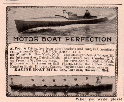 Ad Lot Of 2 Early 1900 -1909 A Ads Racine Boat Mfg Co Muskegon Investment
