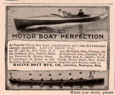 Ad Lot Of 3 Early 1900 -1909 A Ads Racine Boat Mfg Co Muskegon Investment