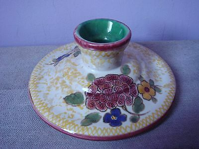 Gouda Pottery Holland Floral Hand Painted Candle Stick Holder 2883 2003