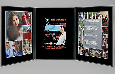 """Folding 3 panel 41"""" x 18"""" black tabletop display for use with Velcro® hook tape"""