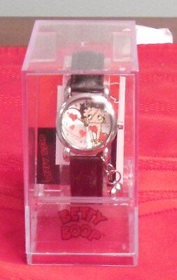 BETTY BOOP WRIST WATCH with HEART CHARM EMBOSSED LEATHER BAND IN CASE NEW