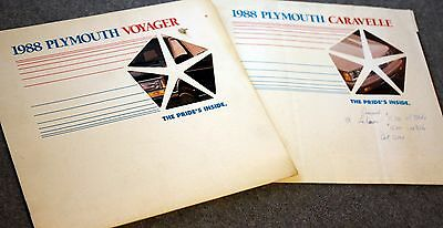 1988 PLYMOUTH CARAVELLE Plymouth Voyager SALES Dealer Publication BROCHURE Car