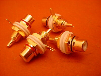 4 x RCA CHASSIS MOUNT SOCKET * NEW MANUFACTURE * GOLD PLATED * INSULATED *