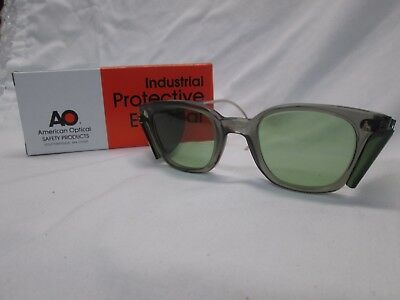 American Optical AO Vintage Safety Glasses NOS Gray 17 Green Glass Cable Temples