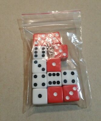 AXIS AND ALLIES second edition: 6 red and 6 white dice - vintage parts