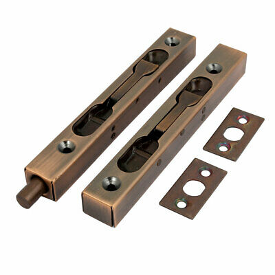 uxcell Flush Bolt Bronze Tone 6-inch Stainless Steel Security Door Guard Lever Action Latch Slide Lock 2 Pcs
