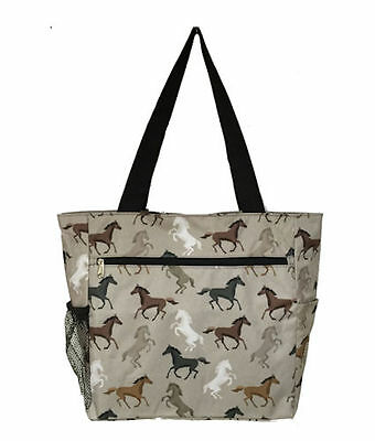 Horse & Western Travel School Shopping Large Tote Bag Horses Print
