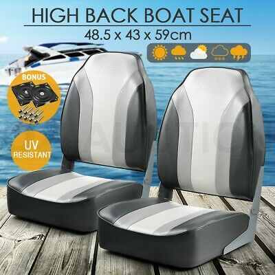 OGL 2 x High Back Folding Swivel Marine Fishing Boat Seats All weather Chairs