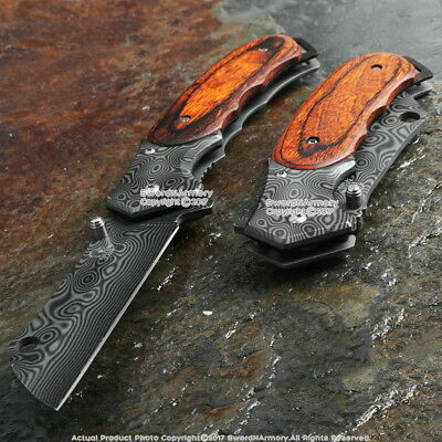 """8"""" Damascus Style Blade Tactical Cleaver Spring Assisted Pocket Razor Blade"""