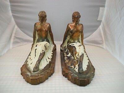 Vintage Art Deco Nude Lady Bookends Leg Arched Bronze White Sitting Frankart Era
