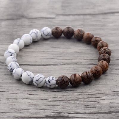 Fashion Charm 8mm Wood Beads Energy Yoga Reiki Women Men Bracelets Xmas Gift