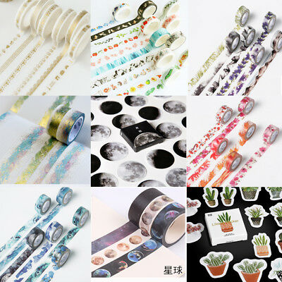 Floral Scenery DIY Paper Sticky Adhesive Sticker Scrapbooking Decor Washi Tapes