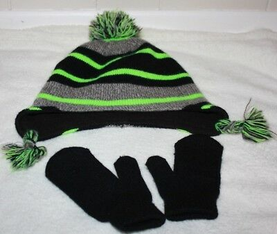 WonderKids Winder Hat and Gloves Black Green & Gray with Mittens One Size Small