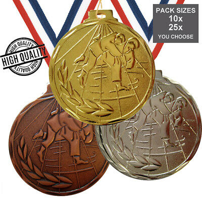 PACK of 10x JUDO MEDALS 50mm GOOD QUALITY & RIBBONS, 3 COLOURS,  FREE P+P
