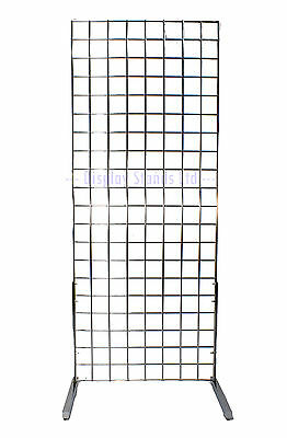 6 Ft Grid Panel 1 Way Display Stand Chrome For Shops & Markets  (E3J12/6)