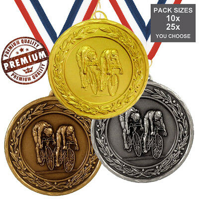 PACK of 10x CYCLING MEDALS 50mm TOP QUALITY, WITH RIBBONS 3 COLOURS, FREE PP