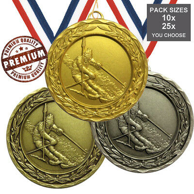 PACK of 10x SKIING MEDALS 50mm TOP QUALITY, WITH RIBBONS 3 COLOURS, FREE PP