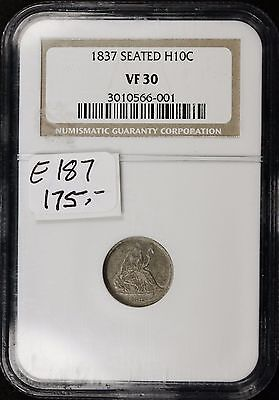 1837 Seated Liberty Half Dime.  NGC Holder.  V.F 30.    e-187