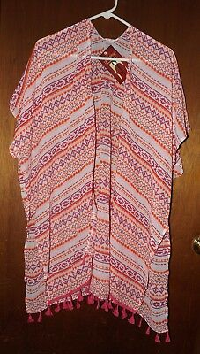 Faded Glory Fringed Bottomed Kimono Topper - New - One Size