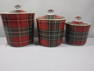 222 Fifth Wexford Red Plaid Gold Trim Christmas 3 Piece Canister Set NEW