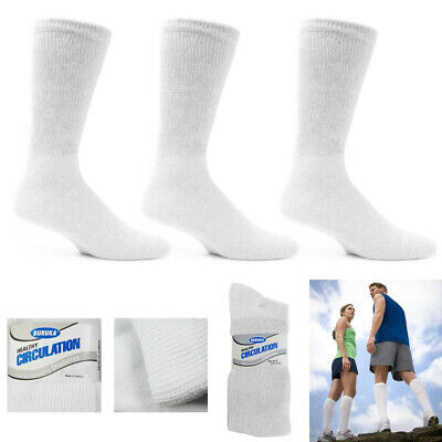 6 Pair Diabetic Crew Socks Circulatory Health Support Cotton Loose Fit Size 9-11