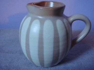 Vintage PRINKNASH POTTERY  Brown & Cream Striped SMALL JUG Impressed Mark 50s