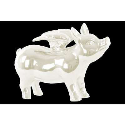 Ceramic White Standing Pig Figurine with Wings