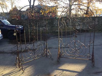 Pair Of Antique Footed Wrought Iron Garden Trellises Trellis ~7 Feet Tall!~