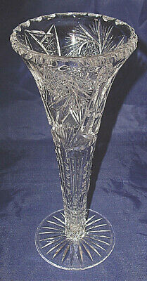 """ABP American Brilliant 10"""" Cut Glass Trumpet Vase Lots of different cuttings!!"""