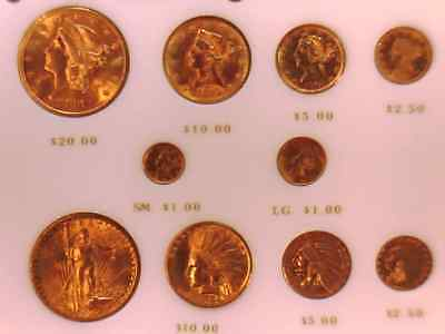 10 Coin Pre1933 Us Gold Coin Type Set Nice Look