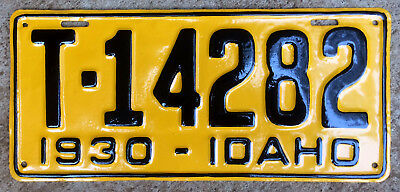 1930 Idaho license plate T-14282 YOM DMV clear Ford Model A AA Chevy Dodge truck