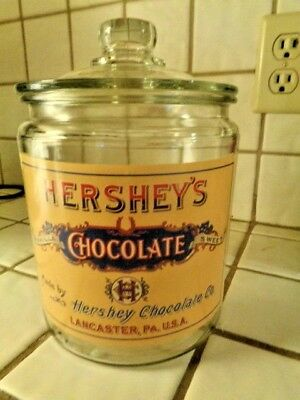 """Hershey  Chocolate Glass Canister/jar  6 & 1/2"""" Without Lid"""