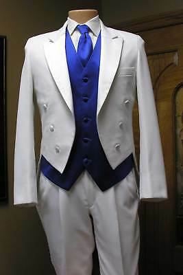 White Tail Coat Vintage Steampunk Cosplay theater dance tailcoat formal